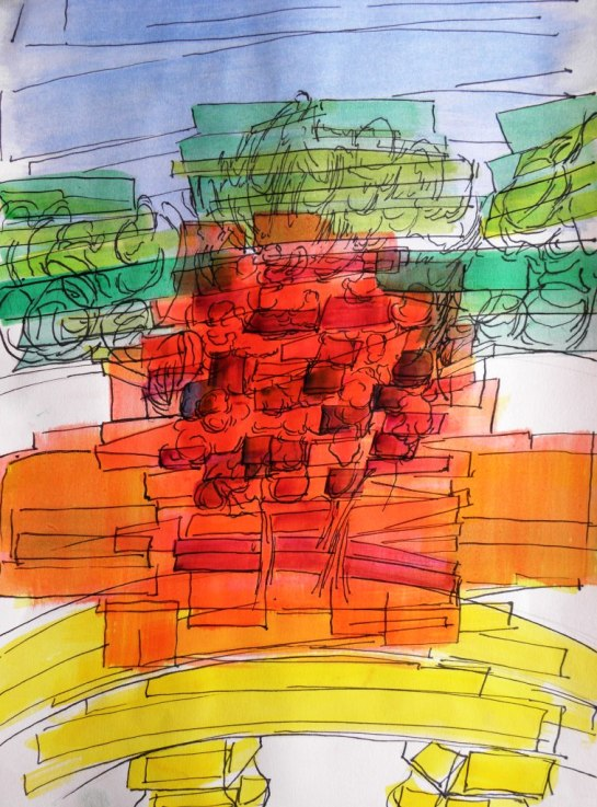 Kirombe Garden dry season 2015, number 2.  300 x 420 mm. Watercolour and Indian ink on paper,