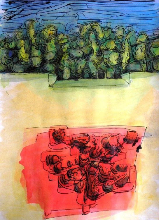 Kirombe Garden: rainy season, 2014 no. 3, 300 x 420 mm. Watercolour and Indian ink on paper