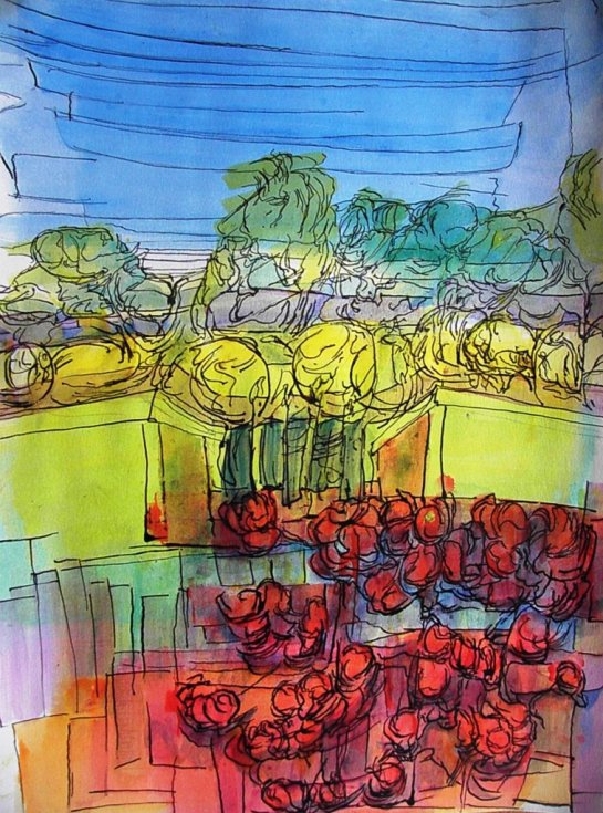 Kirombe Garden dry season 2015, number 1. 300 x 420 mm. Watercolour and Indian Ink on paper,
