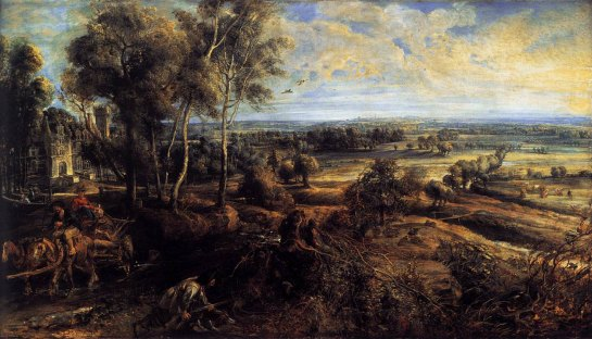 Peter Paul Rubens: 'A View of Het Steen in the Early Morning', 1636. Oil on Oak. 131 x 229.cm. National Gallery, London