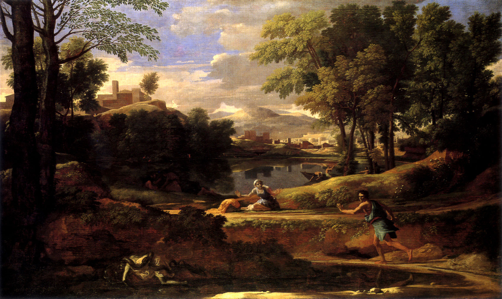 Poussin landscape with a man killed by a snake for Landscape paysage
