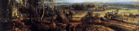 Peter Paul Rubens: 'A View of Het Steen in the Early Morning', 1636. Oil on Oak. 131 x 229.cm. National Gallery, London. Detail: The Midground