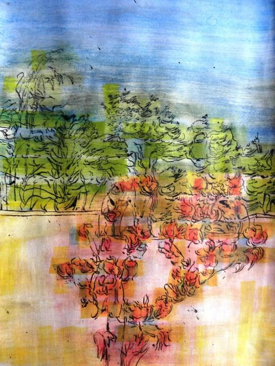 Kirombe garden: dry season 2014., number 2 Watercolour on paper, 42 x 60mm