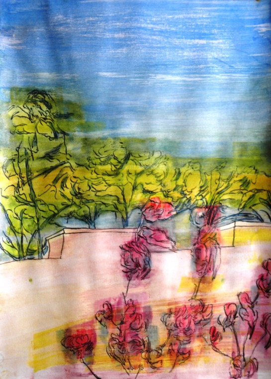 Kirombe Garden: Dry-Season 2014. Number 3 Watercolour on paper, 42 x 60mm