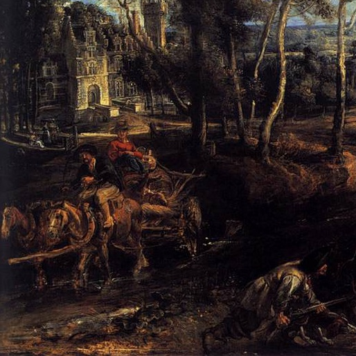 Peter Paul Rubens: 'A View of Het Steen in the Early Morning', 1636. Oil on Oak. 131 x 229.cm. National Gallery, London. Detail: Figures and House