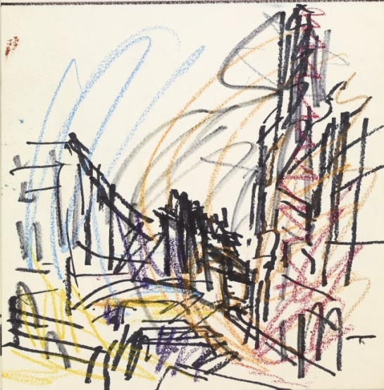 Frank Auerbach Mornington Crescent Early Morning 1991 drawing. Felt-tipped pen, graphite, coloured chalks, crayon pencil and charcoal